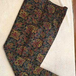 Size 12 Talbots paisley pattern pants straight leg